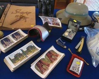 Antique View Master & Slide Photos, Old Razor, Pocket Knife and Hand Warmer