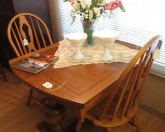 """Beginning of House & Attached Garage...Antique Trestle Table with 2-15"""" Leaves, Size:  42"""" X 36"""""""
