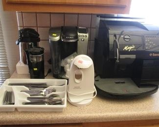 "Keurig Pod Coffee System, ""Magic"" by Saeco Espresso Maker and Other Small Appliances + Flatware Set"