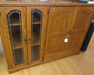 Oak TV Stand & Cabinet