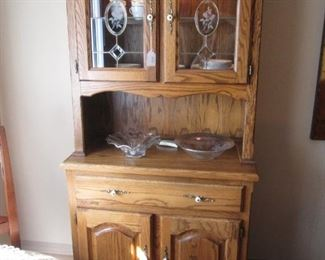 Tall China Cupboard, Drawer& Cabinet Storage + Lighted Upper Display Area