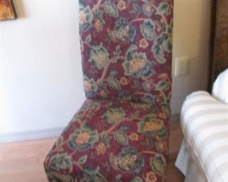 Set of 4-Parson's Style Side Chairs, Rich Colors & Floral Pattern