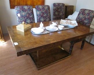 """Dining Room Table on Platform Base with 2-16"""" Leaves   which Insert at each end.  Circa 1977, by Thomasville.    Fashioned after the Style of Designer Milo Baughman."""
