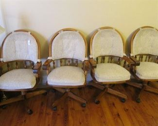4-Matching Wood Chairs on Casters with Seat & Back cushions