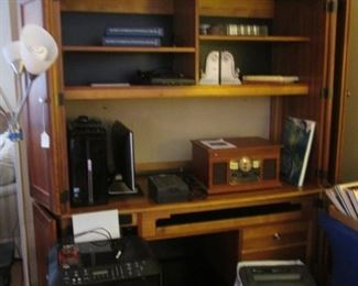 """Floor Lamp and 65"""" Computer Cabinet with Closed Doors"""