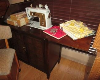 """Vintage Singer """"Touch & Sew"""" Sewing Machine with a 2-Drop Side Cabinet"""