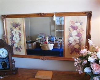 """Wall Mirror with Floral Side Panels, 53"""" X 28"""""""