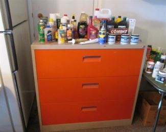Cleaning Supplies & Chemicals + 3-Drawer Cabinet