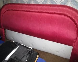 King Upholstered Headboard in Moire Fabric
