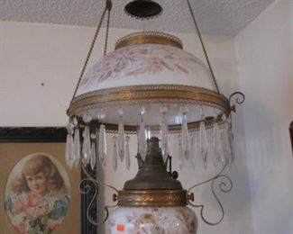 Antique Hanging Floral Lamp