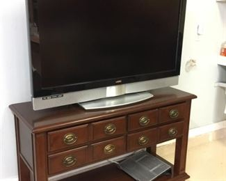 Large Flat Screen TV and Mahogany Media Center