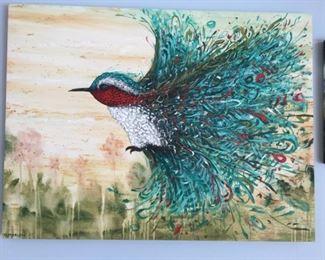 Original oil on canvas Christopher Maslow  - Exploding Hummingbird