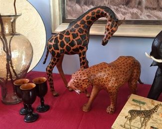 Leather covered African animal figurines