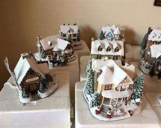 Complete Set of Thomas Kinkade Christmas Village & Santa Figurines  - ALL with boxes and Certificates The Hamilton Collection