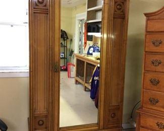 Large antique oak wardrobe
