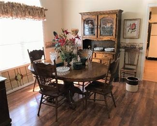 Antique Oak Table and Chairs.