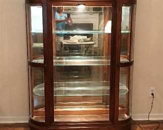 Pulaski Display Curio Cabinet.   Two side doors curved glass.  Pecan.