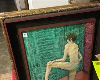 Watercolor art work in a modern wood frame