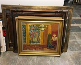 Oil on Canvas Antique painting of a synagogue