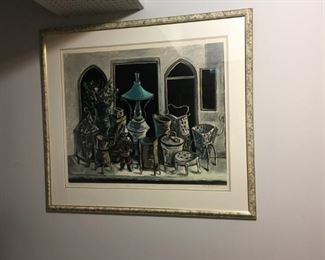 Yosl Bergner, listed Israeli artist, artist proof lithograph
