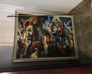 Oil on Canvas, by listed artist Zakav. After Benton's wall murals which are now on Exhibit in Metropolitan Museum.