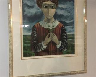 Yosl Bergner, Israeli listed Artist, on exhibit in Tel Aviv Mureum of Art. Numbered lithograph.