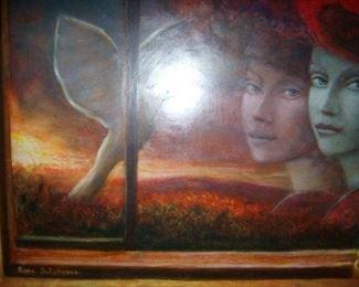 Oil on Board, Rina Sutzkever, listed Israeli artist.