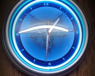 Harley 14 inch round Wall Clock with Neon - keeps time.