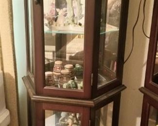 5 curio cabinets available