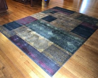 Large Kitchen Dining Rug Geometric Multi Color