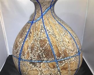 Blue and Tan Pottery Vase