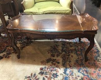 Antique Coffee Table with glass top