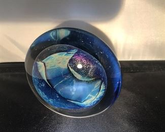 Signed Paperweight blue purple round