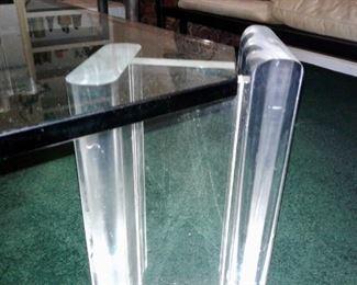 Acrylic Leg of 1970's Glass Top Coffee Table