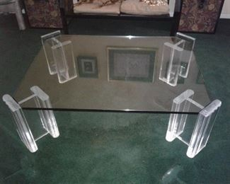1970's Glass Top Coffee Table with Acrylic Legs