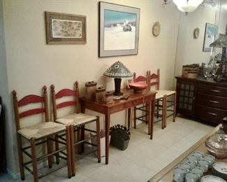 Set of 4 matching wooden bar stools with woven seats