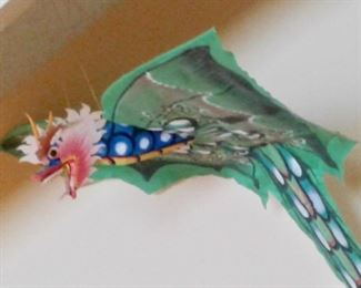 Large, brilliantly colored paper Dragon kite from Bali.