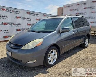 62: 2006 Totota Sienna XLE Wheelchair Van, Very LOW Miles! See Video! CURRENT SMOG Year: 2006 Make: Toyota Model: Sienna Vehicle Type: Van Mileage: 6,856 Plate: Body Type: 4 Door Van Trim Level: XLE Limited; XLE Drive Line: FWD Engine Type: V6, 3.3L Fuel Type: Gasoline Horsepower: Transmission: Automatic VIN #: 5TDZA22C86S506558  Features and Notes: Leather interior, power seats, mirrors, locks, automatic doors and trunk. This Vehicle is also equipped with hand controls for the brakes.  DMV fees: $855 and $70 doc fees