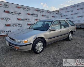 68: 1991 Honda Accord Wagon, See Video! Year: 1991 Make: Honda Model: Accord Vehicle Type: Passenger Car Mileage: 95,030 Plate: 2ZAG002 Body Type: 4 Door Wagon; Station Wagon Trim Level: EX Drive Line: FWD Engine Type: L4, 2.2L Fuel Type: Gasoline Horsepower: Transmission: VIN #: 1HGCB9865MA022484  Features and Notes: Power windows, locks, and mirrors. Cloth interior is in great shape protected by seat covers. Like new Bridgestone all around.  DMV fee: $282 for 2020 Registration and $70 doc fees