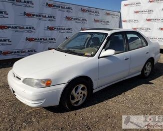 72: 2000 Toyota Corolla, White, See Video! DEALER OR OUT OF STATE BUYER ONLY!! Year: 2000 Make: Toyota Model: Corolla Vehicle Type: Passenger Car Mileage: 147,362 Plate: 4JSK556 Body Type: 4 Door Sedan Trim Level: CE; LE; VE Drive Line: FWD Engine Type: L4, 1.8L; DOHC 16V; VVT-i; EFI Fuel Type: Gasoline Horsepower: 120-125HP Transmission: Automatic VIN #: 1NXBR12E6YZ350973  Features and Notes: Cold A/C! Power windows, sunroof, locks, and mirrors.  DMV Fees: $202 and $70 Doc fees