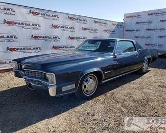 94: 1968 Cadillac El Dorado, Dark Metallic Blue Leather wrapped cloth interior, Power windows, AC, Radio, 2nd row seating 1968 Cadillac El Dorado, Dark Metallic Blue, Fleetwood El Dorado, 1968, Mileage - 83894, Plate - ULV 749, Cadillac 472 V8, Automatic Trans