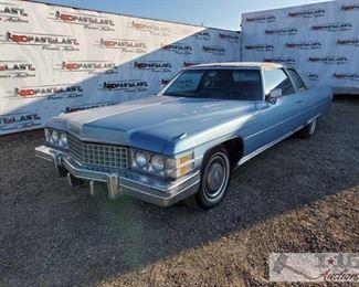 96: 1974 Cadillac Coupe DeVille, Blue Hard top Coupe, power windows, power seats, casette player, AC 1974 Cadillac Coupe DeVille, Blue, VIN 6D47R4Q127668, V8 Automatic trans, Mileage 51114, Plate - 7HVY958