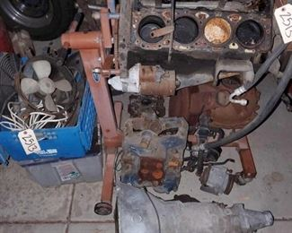 130:  Motor, Transmission, Motor Carry Cart, Various Parts Two Hitch Recievers, Two Dolleys, Shop Cart and Oil Change Tray