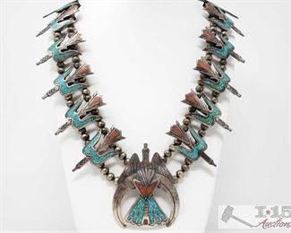 """250: Old Pawn Turquoise and Coral Squash Blossom Necklace, 271.2g Measures approx. 16"""" weighs approx 271.2g"""