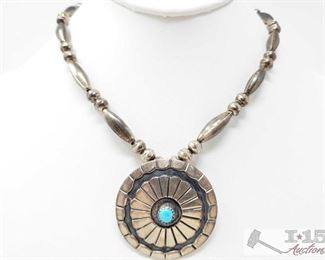 """251:  Sterling Silver Necklace with Turquoise Pendent, 29.5g Sterling silver necklace weighs approx 27.4g measures approx. 15"""""""