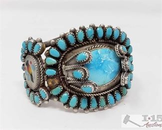"""275: Old Pawn Kingman Turquoise Cluster Bracelet, 74.1g Sterling Silver 
