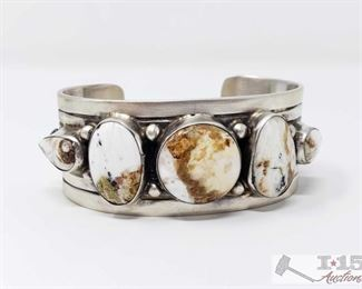 """277: Bobby Johnson White Buffalo Freeform Row Wide Sterling Cuff, 81.5g Sterling Silver 