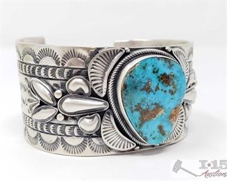 """280: Sheila Tso Candelaria Turquoise Heavy Stamp Bump Out, 102.3g Sterling Silver 