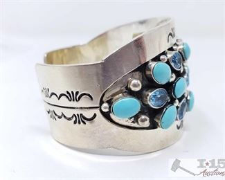 """281: Vintage Sleeping Beauty Turquoise & Blue Topaz Sterling Silver Cuff Bracelet, 68.5g Sterling Silver 