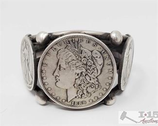 282: CJ Sterling Silver Coin Cuff Bracelet, 106.4g Weighs approx 106.4g